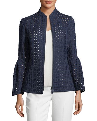 Grid-Mesh Bell-Sleeve Jacket