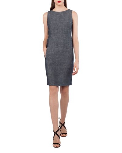 Sleeveless Wool-Linen Sheath Dress