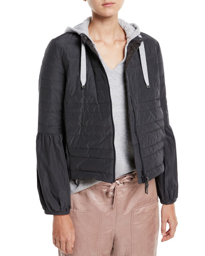 Taffeta Puffer Jacket w/ Balloon Sleeves