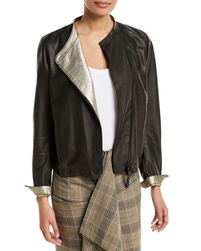 Leather Asymmetric-Zip Jacket w/ Metallic Lining