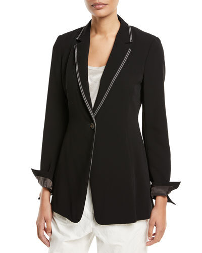 One-Button Blazer w/ Monili Trim