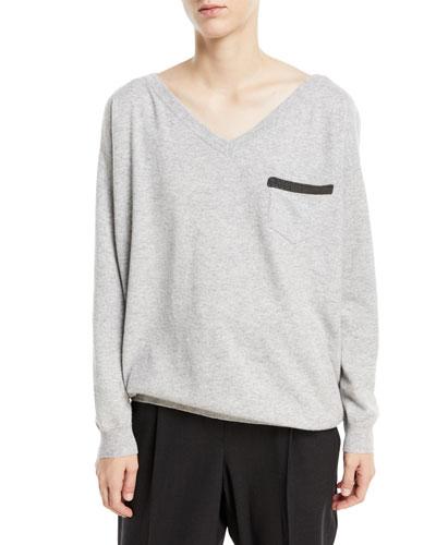 2-Ply Cashmere V-Neck Sweater w/ Monili Trim