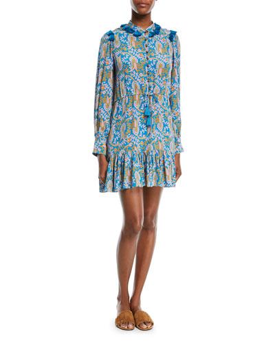 Emma Long-Sleeve Button-Front Mini Dress