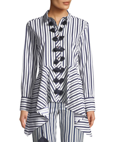Marta Long-Sleeve Button-Front Striped High-Low Tunic Top