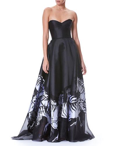 Strapless Belted Bustier Zebra-Print Evening Gown