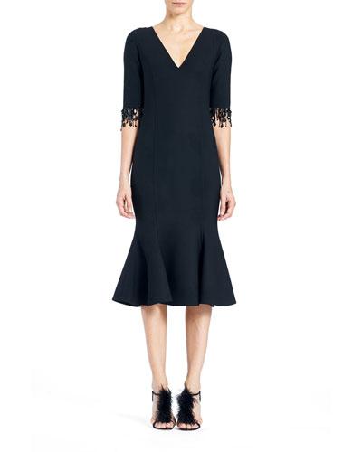 Fringed Elbow-Sleeve Midi Dress