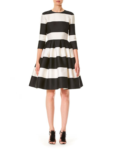Striped 3/4-Sleeve Cocktail Dress