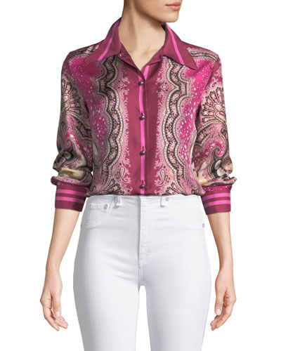 Long-Sleeve Silk Paisley Blouse