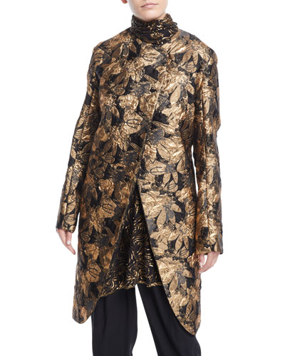 Asymmetric Front Metallic Jacquard Coat