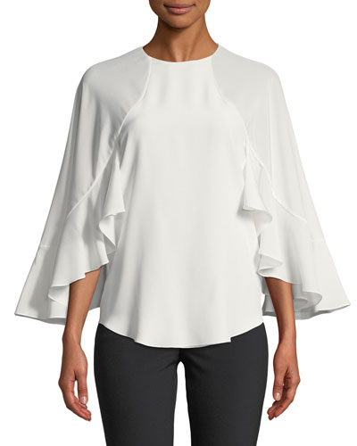 Silk Crepe de Chine Flutter-Sleeve Top