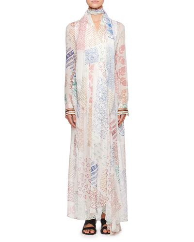 Patchwork Silk Maxi Dress