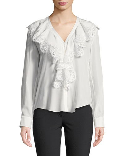 Ruffled Lace-Trim Silk Blouse