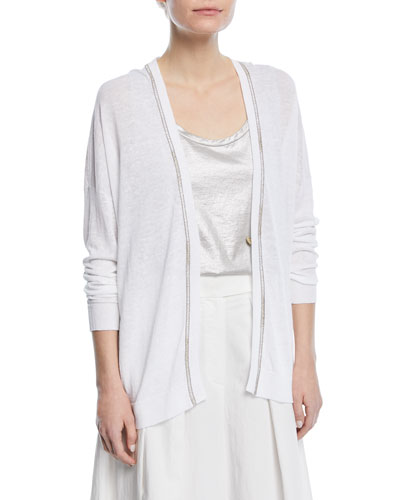 One-Button Linen Cardigan with Monili and Lurex® Stitching