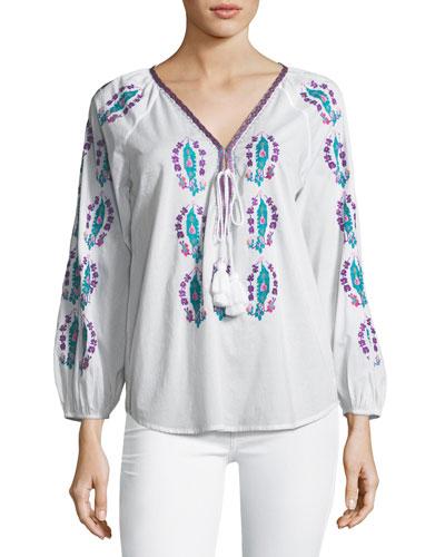 Rosette Embroidered Tassel-Tie Top