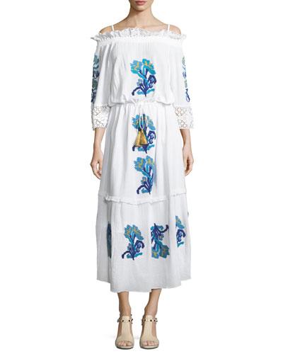 Noelle Embroidered Off-Shoulder Midi Dress