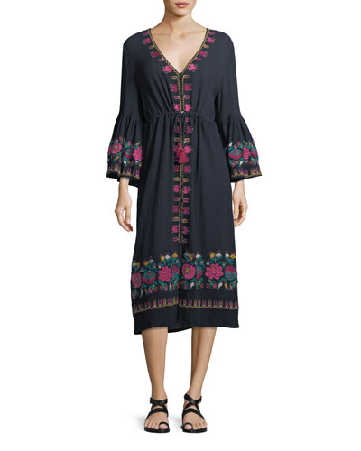 Junie Embroidered Midi Dress