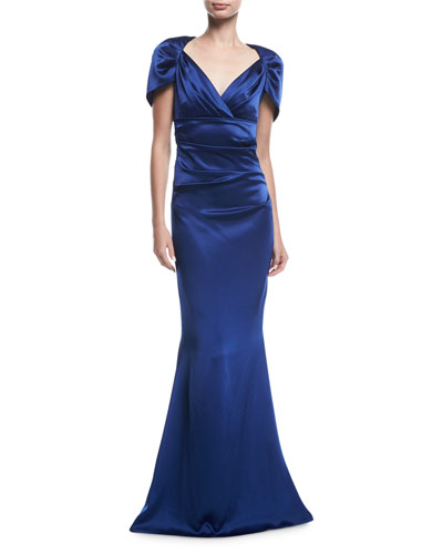 Polinesia Ruched Satin Cap-Sleeve Gown