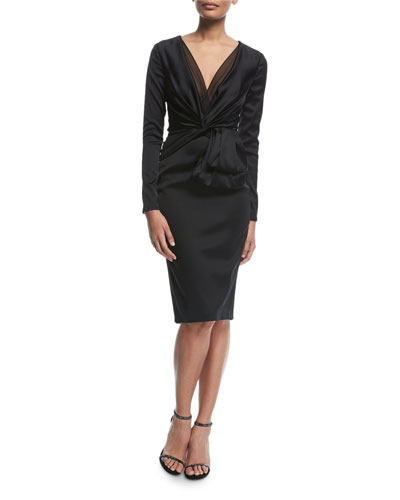 Polis Long-Sleeve Satin Cocktail Dress