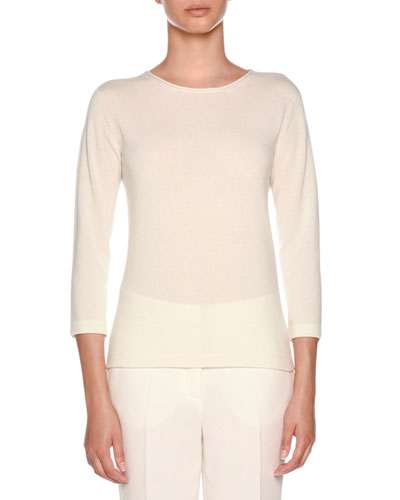 Knitwear Daily Chic Cashmere 3/4-Sleeve Crewneck Top