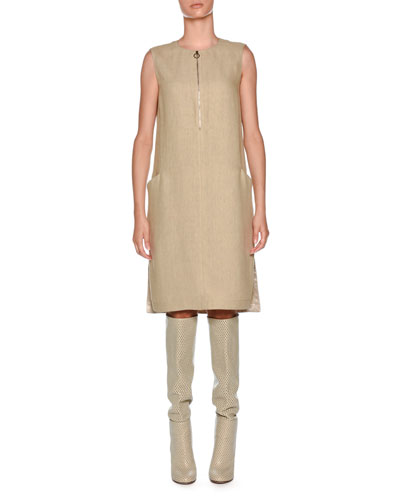 Double Linen Sleeveless Tunic Dress, White Pattern