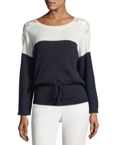 Button-Shoulder Drawstring Sweater