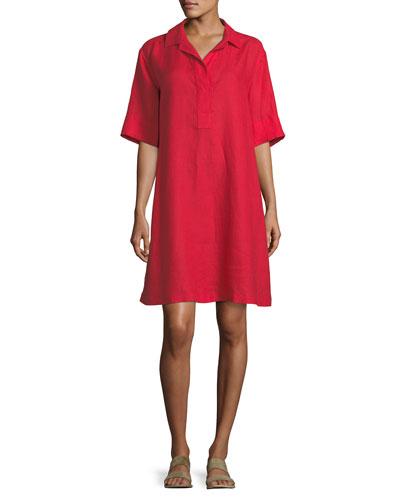 Lucy Collared Half-Sleeve Linen Shift Dress