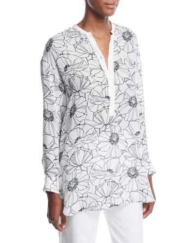 Cathy Floral-Print Henley Silk Shirt