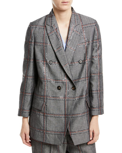 Cotton/Linen Check Paillette Blazer Jacket