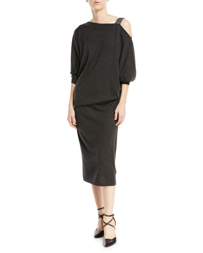 Cinched-Waist Cashmere/Silk Dress w/ Monili Cold Shoulder
