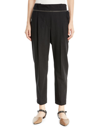 Lightweight Wool-Blend Tacked Pants w/ Monili Trim
