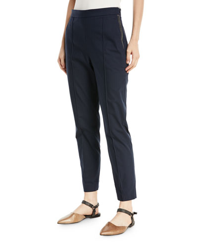 Side-Zip Pants w/ Monili Trim at Pockets