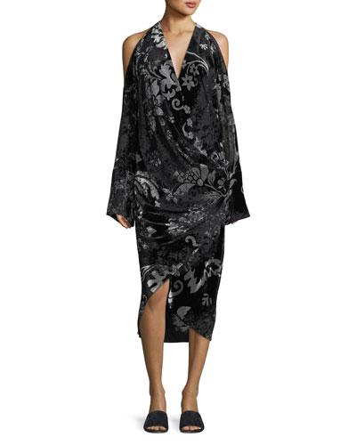 Convertible Velvet Devore Cold-Shoulder Dress