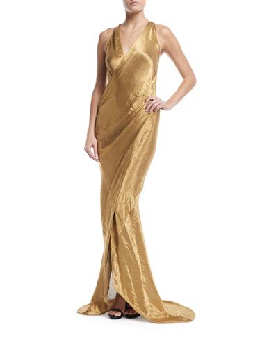Metallic Sleeveless Wrap-Front Gown