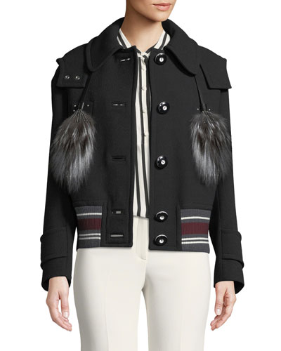 Wool Coat with Fur Tassels
