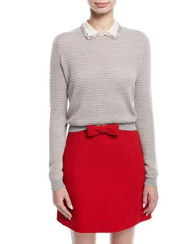 Knit Sweater w/ Jeweled Collar