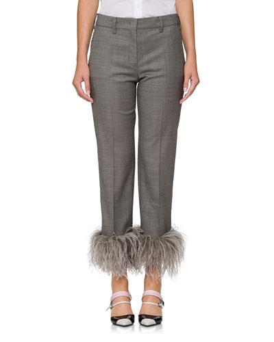 Feather-Embellished Straight-Leg Pants