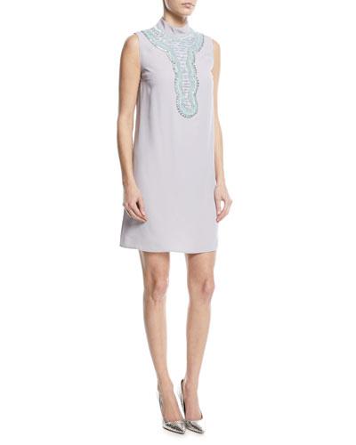 Sleeveless Beaded Mock-Neck Cocktail Dress