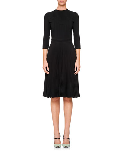 3/4-Sleeve Crewneck Dress w/ Pleated Skirt