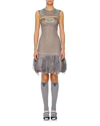 Sleeveless Beaded Feather-Hem Dress