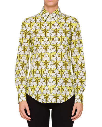 Long-Sleeve Floral Collared Shirt