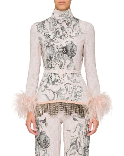 Long-Sleeve Feather-Cuff Printed Pajama Top