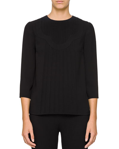 3/4-Sleeve Scalloped Crewneck Blouse w/ Piping