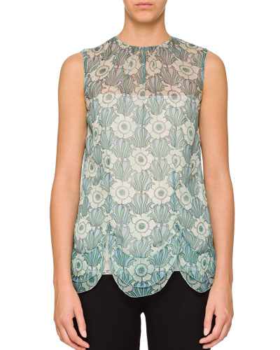Sleeveless Floral-Print Chiffon Top