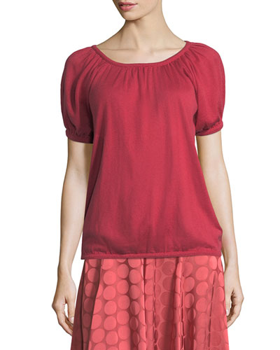 Bubble-Sleeve Round-Neck Silk-Cashmere Knit Top