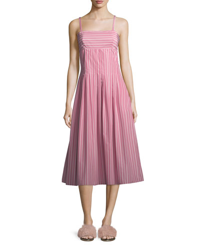 Square-Neck Sleeveless Striped Shirting Midi Dress