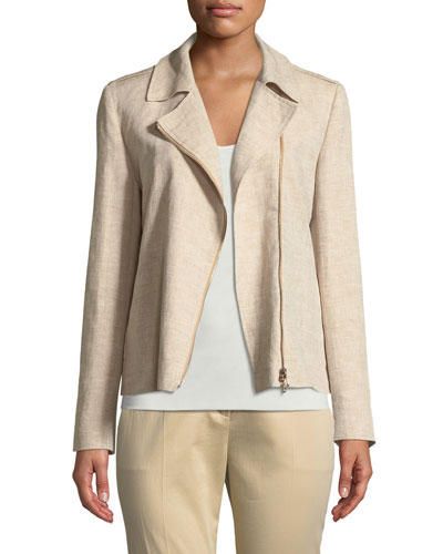 Zip-Front Linen Jacket