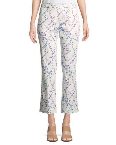Floral Cropped Flare-Leg Pants