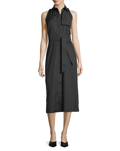 Sleeveless Cotton Midi Shirtdress, Black