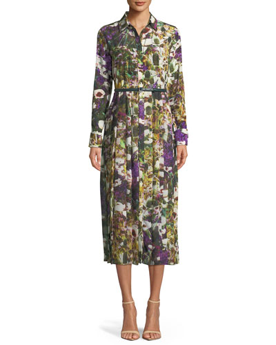Button-Down Long-Sleeve Belted Floral-Print Dress