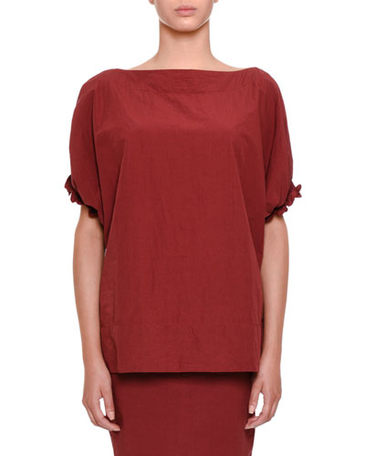 Boat-Neck Voile Top